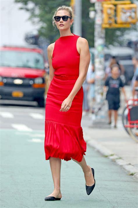 Karlie Kloss Red Body Con Midi Dress Nyc