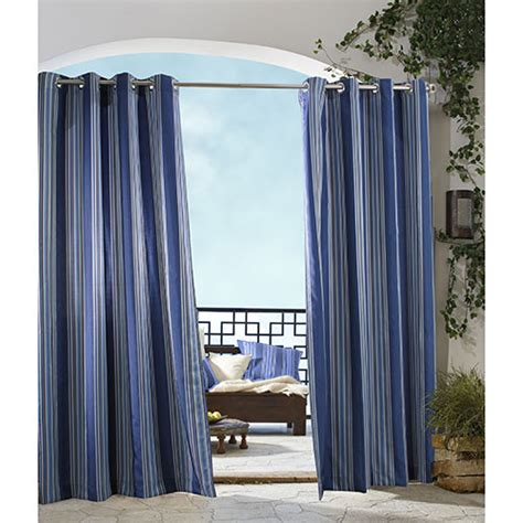 indoor outdoor curtains gazebo indoor outdoor striped curtain panel blue boscov s