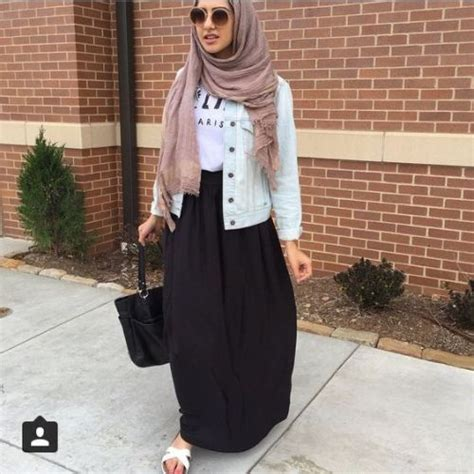 maxi skirt hijab outfit street fashion style  trendy