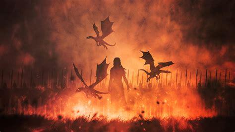 daenerys targaryen  dragons illustration hd tv shows