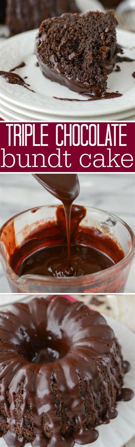 triple chocolate bundt cake  easy cake recipe
