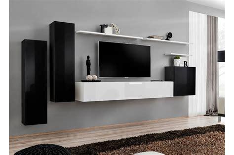 meuble tv mural design noir blanc laqu 233 pour salon