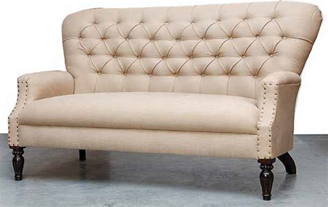 Settee Toronto by Lola Beige Linen Tufted Settee Contemporary Furniture