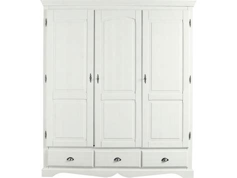 armoire 3 portes pin massif teint 233 blanc armoire 3 portes