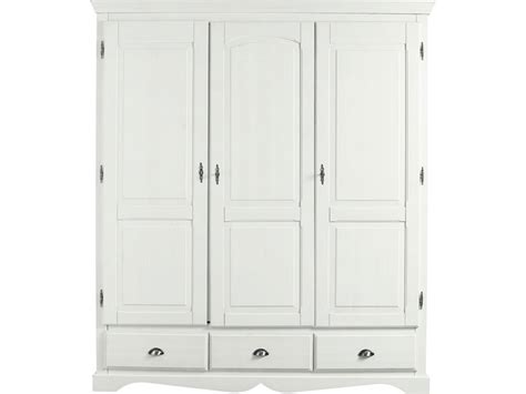 armoire 3 portes en pin massif yuca coloris teint 233 blanc