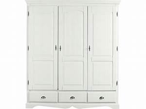 Armoire En Pin Massif : armoire 3 portes en pin massif yuca coloris teint blanc ~ Teatrodelosmanantiales.com Idées de Décoration