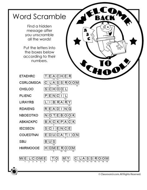 school word scramble answer key woo jr kids