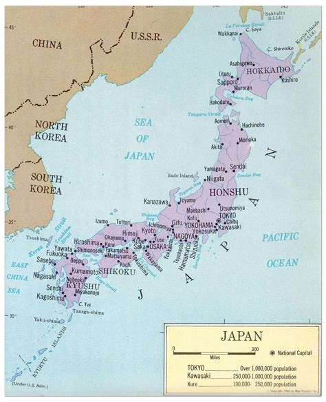 large political map  japan  major cities