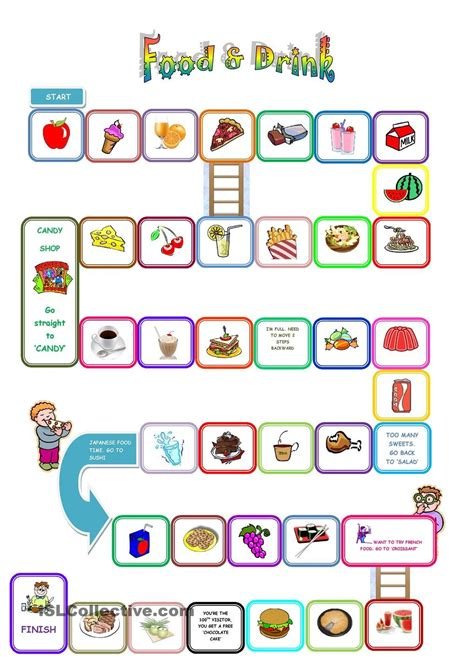 Food Games Food And Drink Board Game Teaching English English