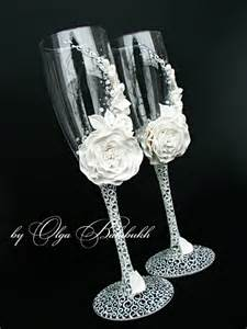 wedding wine glasses white chagne wedding glasses with a beautiful white flower