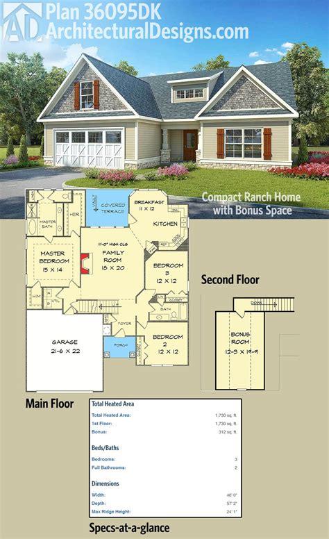 plan dk compact ranch home  bonus space cottage house  bonus rooms
