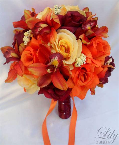 orange wedding bouquets pcs wedding bridal bouquet set