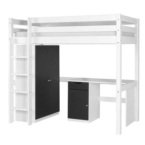 coiffeuse blanche si鑒e avec miroir inclus lit mezzanine avec armoire et bureau de conception de maison
