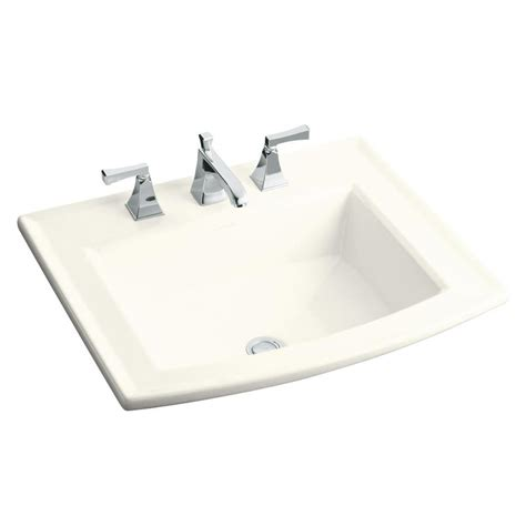 drop in bathroom sinks rectangular shop kohler archer biscuit drop in rectangular bathroom
