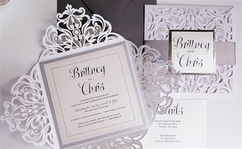 elegant wedding invitations silver white wedding