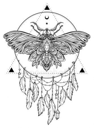 Black White Butterfly Sacred Geometry Sign Isolated Vector Illustration Tattoo