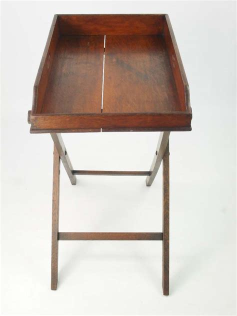antique victorian oak butlers tray stand