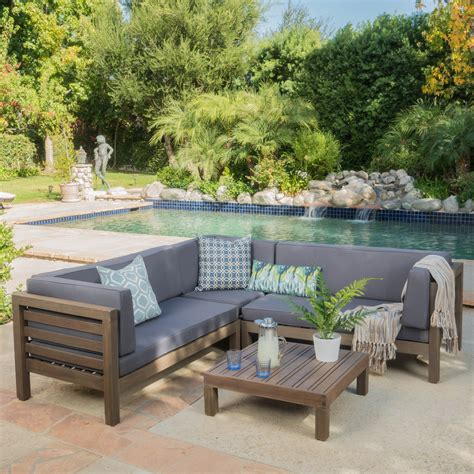 Outside Furniture Sale by Outdoor Oana Wooden 4 Patio Sectional Sofa Set