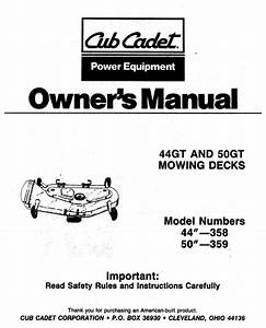 Cub Cadet 44gt And 50gt Rotary Mower Mowing Decks Owners