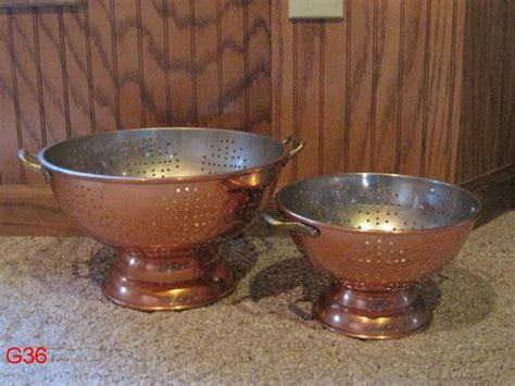 vintage  dutch international copper cookware colander strainer set lot brass buy