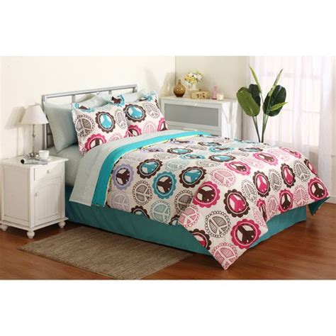 girl pink purple lime green teal peace sign twin comforter