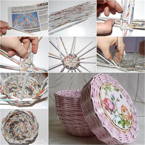 creative ideas diy cute woven paper basket  newspaper