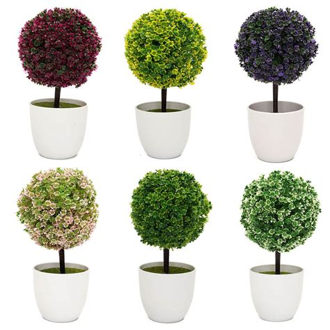 topiary trees indoor mini fake bonsai flower buxus plants in pot indoor artificial topiary tree ball for garden home