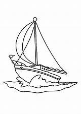 Coloring Boat Boats Sailboat Printable Sail Digital Barco Transportation sketch template