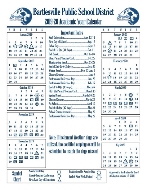 academic year calendars bartlesville public schools