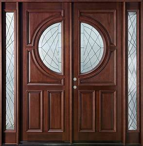 Custom Solid Wood Double Entry Door Design With Narrow ...