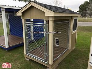 Dog kennel mega storage sheds for Storage shed with dog kennel