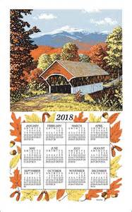 "2018 Linen Calendar Towel (3221) ""Fall Covered Bridge"""