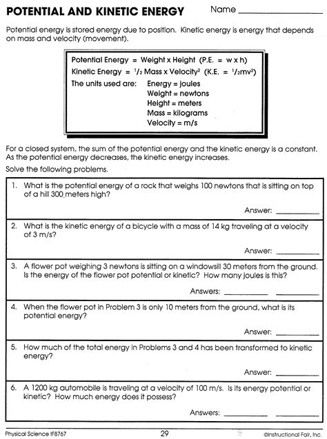 Potential And Kinetic Energy Worksheet Answers  Science  Worksheets, Kinetic Energy, Science
