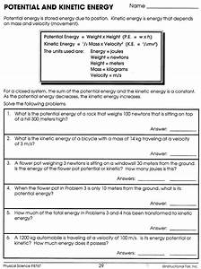 Potential And Kinetic Energy Worksheet Instructional Fair