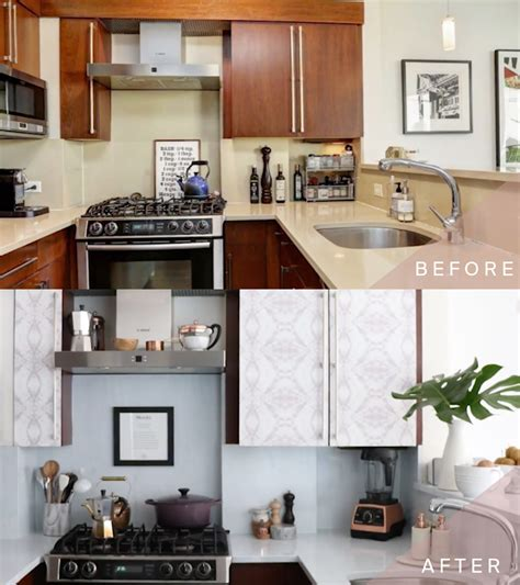 wallpaper inside kitchen cabinets how to transform your kitchen cabinets with wallpaper