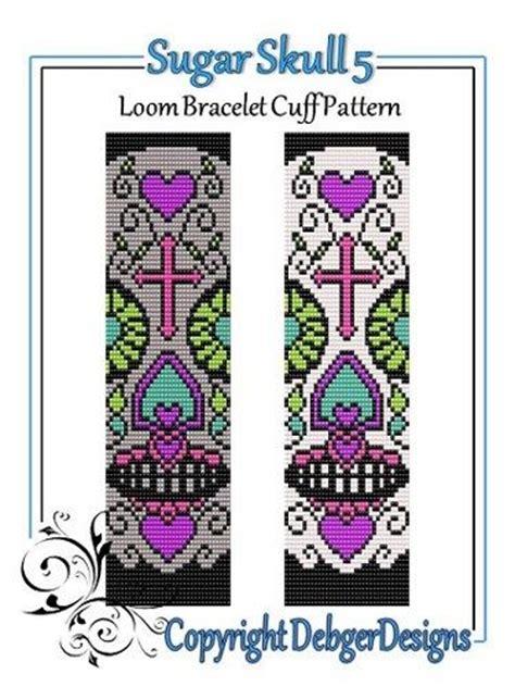 sugar skull 5 loom bracelet cuff pattern