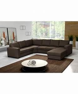 grand canape d39angle 6 a 7 places oara marron chocolat With tapis de gym avec canapé d angle pas cher paiement en 4 fois