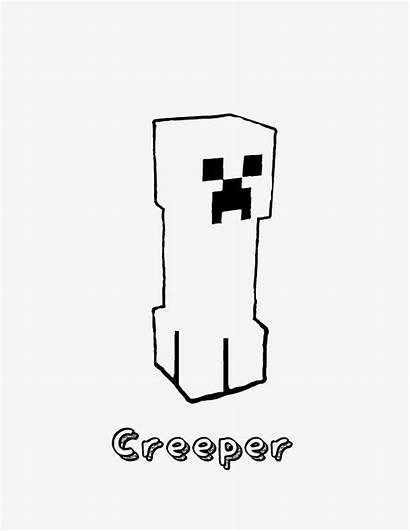 Creeper Minecraft Coloring Pages Clipart Printable Freebie