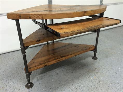 reclaimed wood corner desk reclaimed wood corner table desk solid oak w black iron pipe