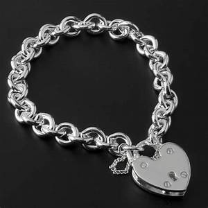 Heavy Solid Silver Charm Bracelet With Large Padlock Closure