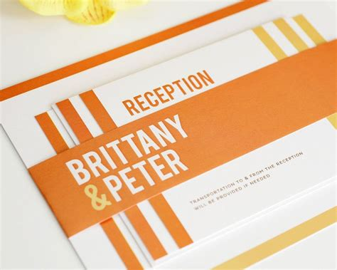 Orange Modern Wedding Invitations with Stripes Wedding