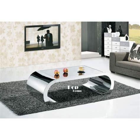 canapé 3 places relax table basse inox effet miroir pop design fr