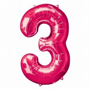 """5 x NEW Pink Number """"3"""" Shape 35"""" - Dreemway"""