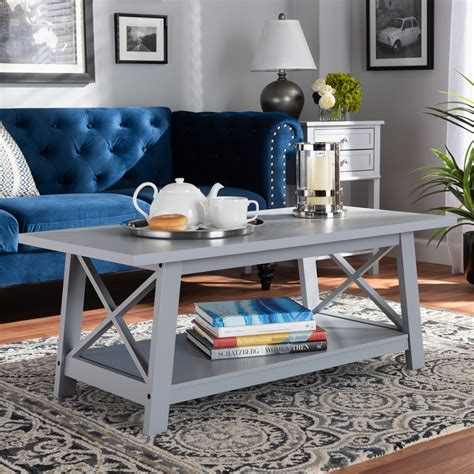 Find coffee tables & accent tables at wayfair. Lowest Price Baxton Studio Germain Modern and Contemporary Light Grey Finished Wood Coffee Table