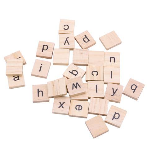 100pcs wooden alphabet scrabble tiles black letters crafts
