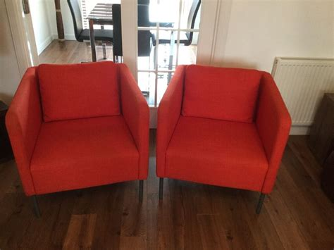 Ikea Ekero Pair Of Armchairs (2), Skiftebo Orange