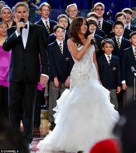 conservative wedding dress marina prior opens carols by candlelight in couture wedding dress daily mail