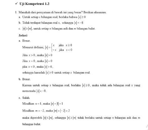 Mencari kunci jawaban soal matematika kini lebih mudah. Jawaban Uji Kompetensi 1.2 Bab 1 Matematika Kelas 10 ...