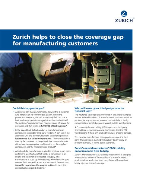 Unlimited number of claims within the maximum annual coverage5. Zurich helps to close the coverage gap for manufacturing customers   Knowledge Hub   Zurich Canada