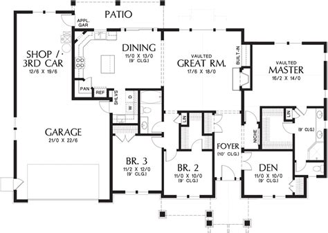 bedroom ranch house plan